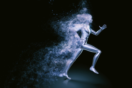 Running 3D man shattered into dust
